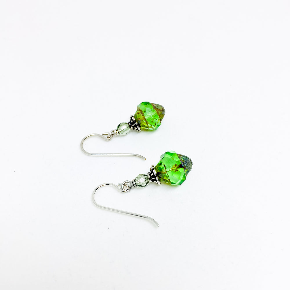 Czech glass earrings cathedral faceted band peridot