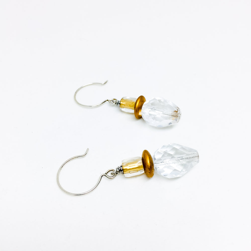 Czech glass earrings double facet crystal