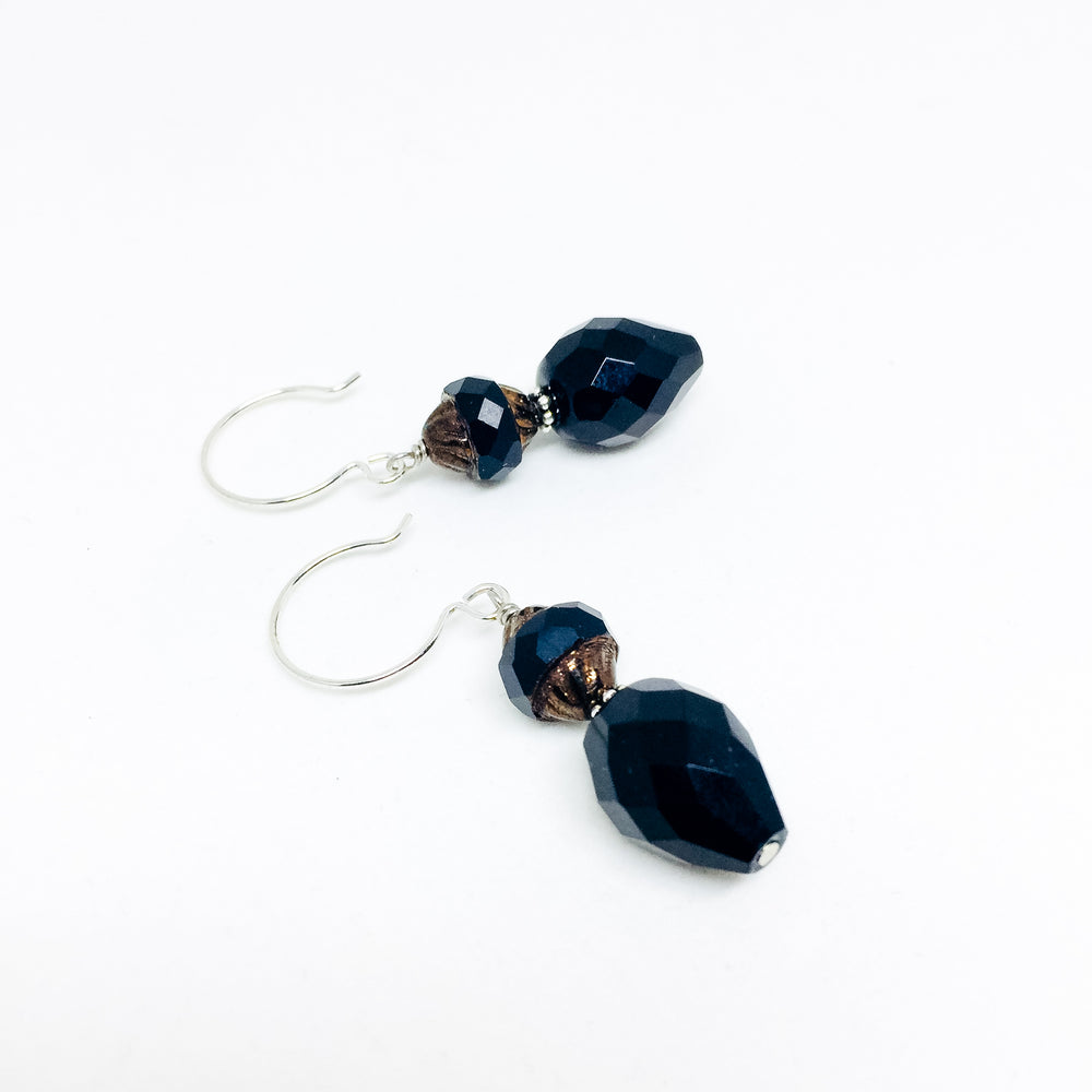 Czech glass earrings double facet all colors jet black