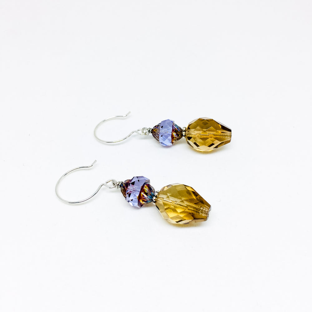 Czech glass earrings double facet lilac
