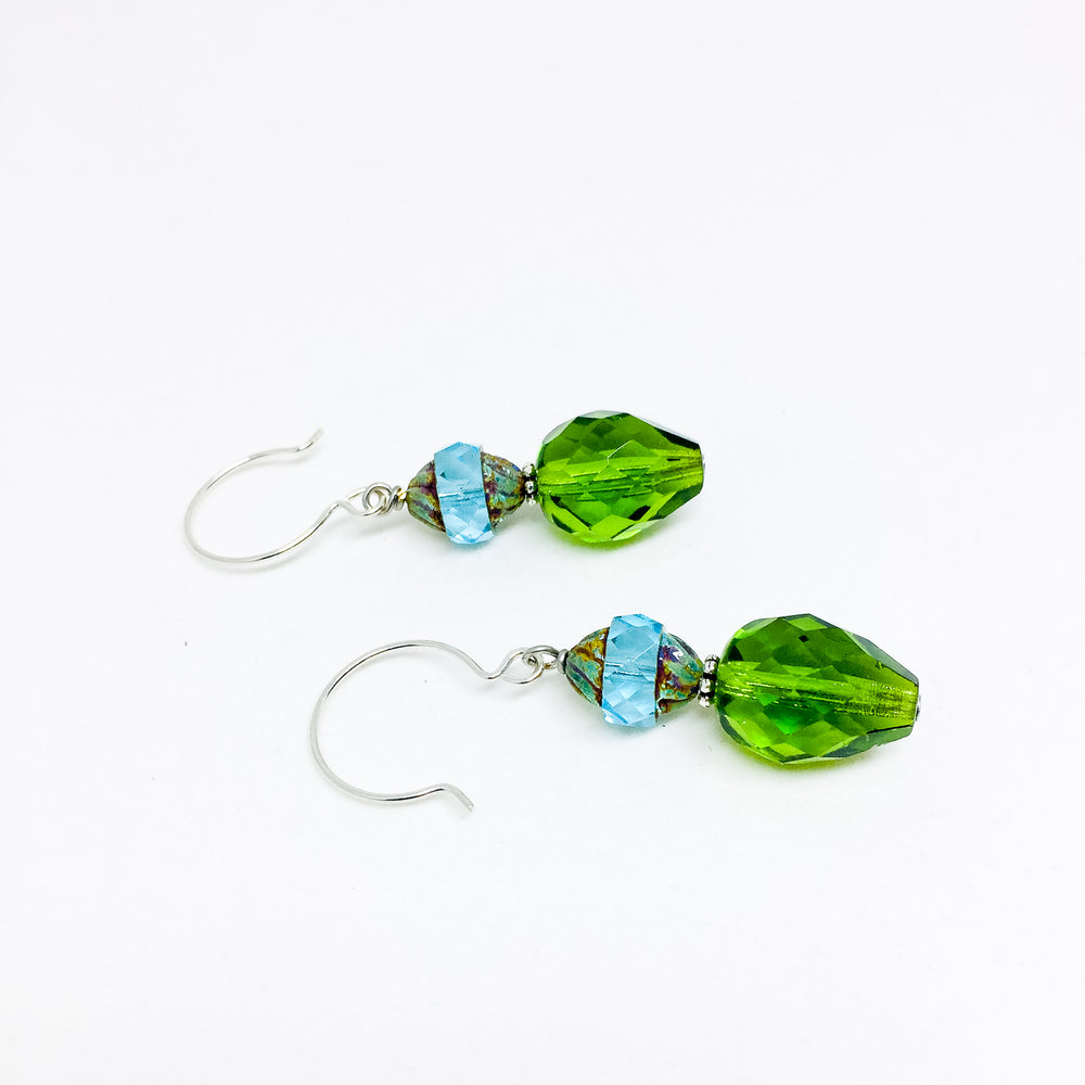 Czech glass earrings double facet olive
