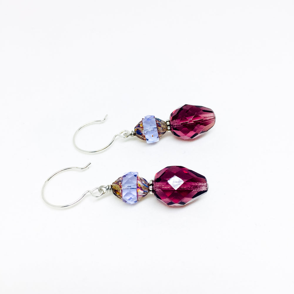 Czech glass earrings double facet plum