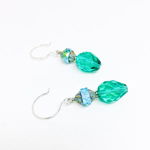Czech glass earrings double facet all teal