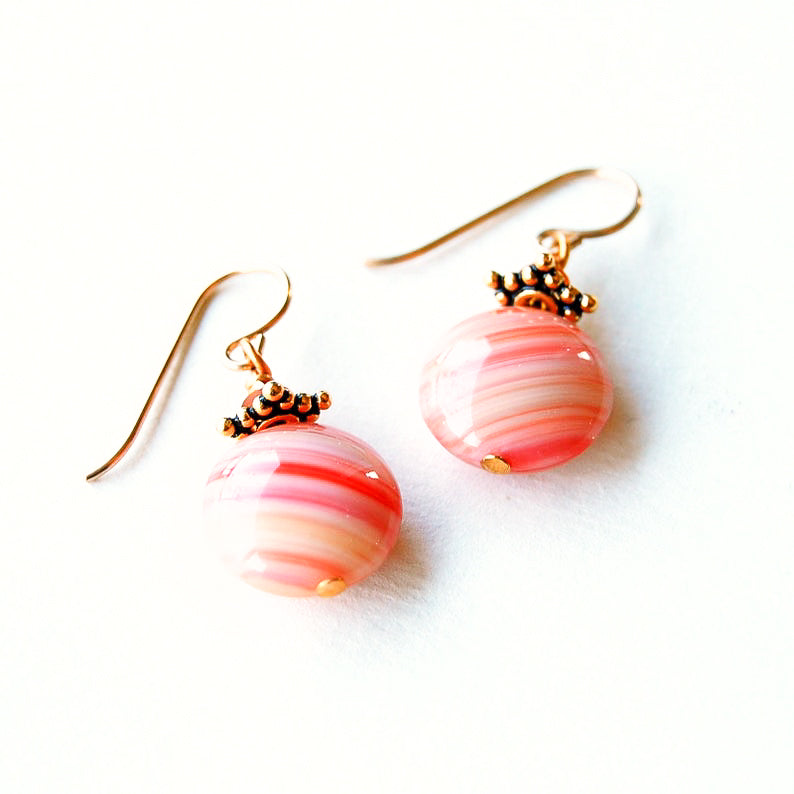 Coral Czech glass beaded earrings on gold ear wires