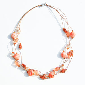 Coral Czech glass handmade beaded multi-strand necklace