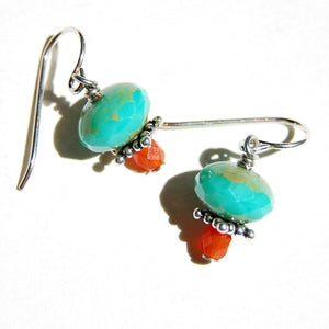 Faceted orange and turquoise-colored Czech glass small earrings