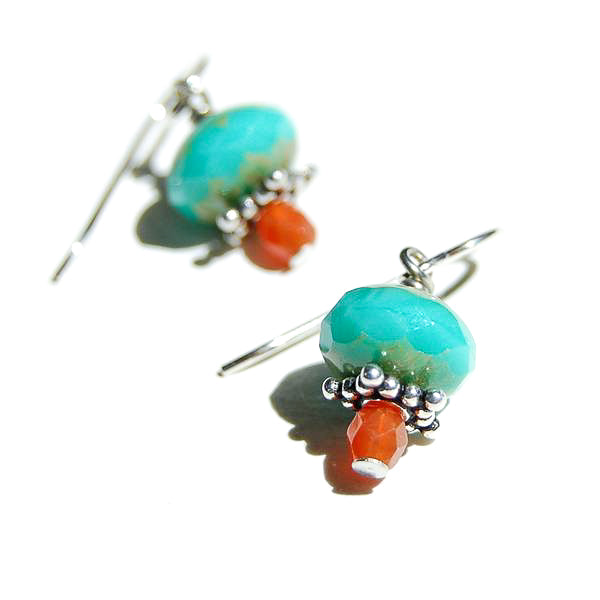 Small orange and turquoise-colored faceted Czech glass beads on silver wire