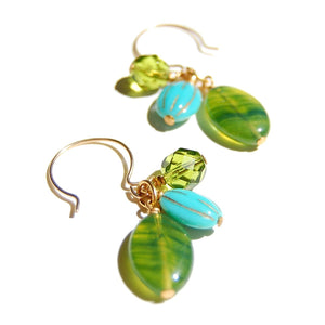 Triple drop cluster earring with Czech glass beads in greens and blue