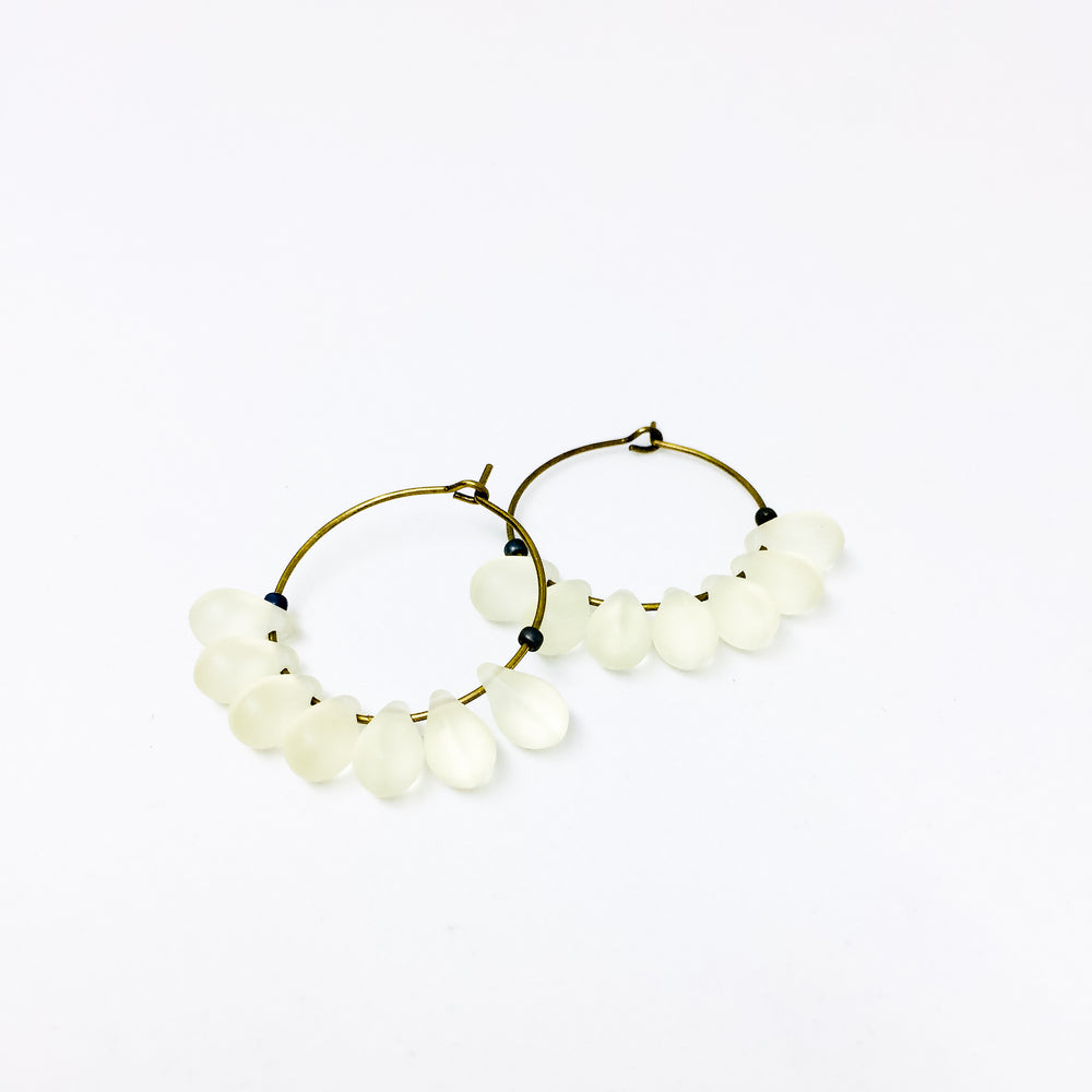 Dewdrop beaded glass hoop earrings in crystal