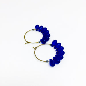 Dewdrop beaded glass hoop earrings in cobalt blue