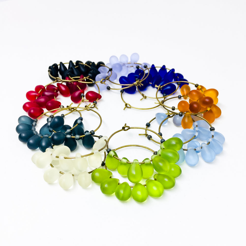 Dewdrop beaded glass hoop earrings in all colors