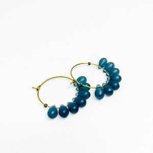 Dewdrop beaded glass hoop earrings in montana blue