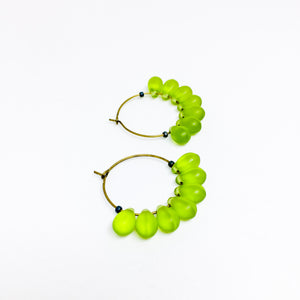 Dewdrop beaded glass hoop earrings in green