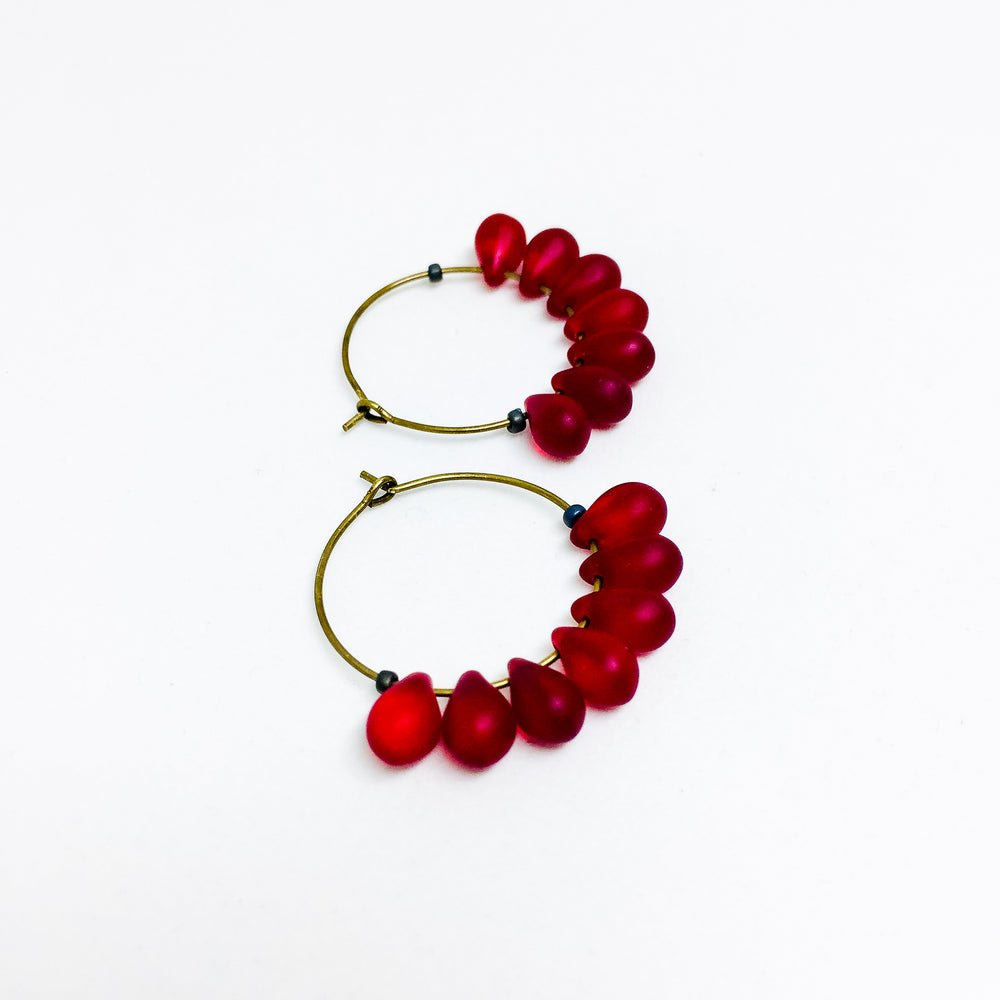 Dewdrop beaded glass hoop earrings in ruby red