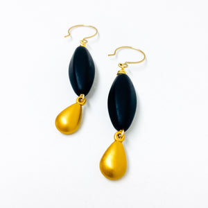 Black Frosted Czech glass bead drop earrings with gold charm