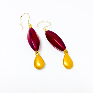 Ruby frosted Czech glass bead drop earrings with gold charm