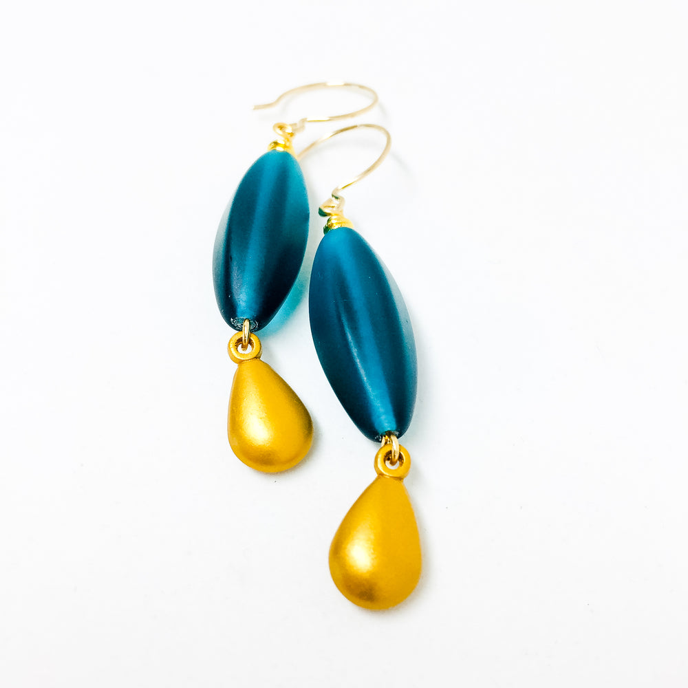 Teal frosted Czech glass bead drop earrings with gold charm