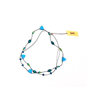 Frosted Czech glass long triangle teal necklace, doubled