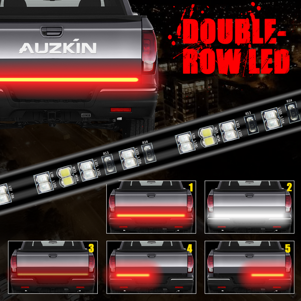 AUZKIN 60 Inches Tailgate Light Bar Double-Row LED light Strip Brake Running Turn Signal Reverse Tail Lights for Trucks Trailer Pickup Car RV VAN Jeep Towing Vehicle,Red White,No-Drill
