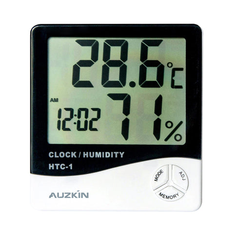 AUZKIN Slim Atomic Wall Clock with Indoor/Outdoor Temperature, Full Calendar and Large Display (New Full Display) Color: Graphite Grey