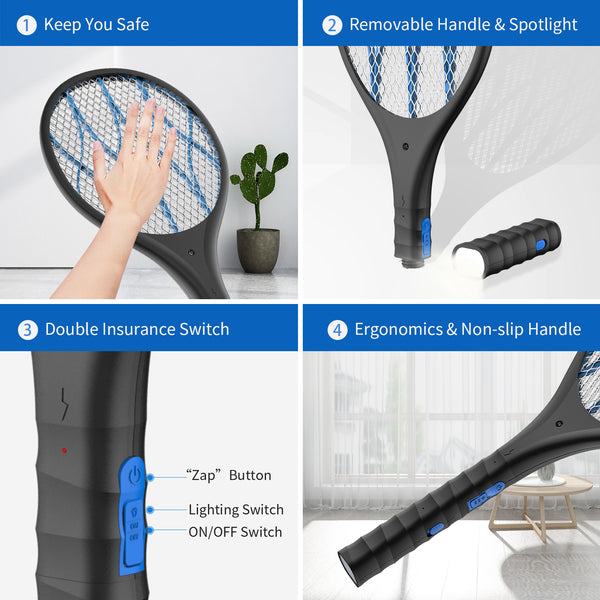 AUZKIN Fly USB Rechargeable Electric Racket for Home,Outdoor,Powerful 4000V Grid,Removable Flashlight,LED Light,Safe to Touch with 3-Layer Safety Mesh, Black