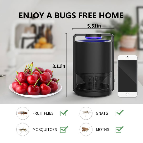 Intelligent Control Killer Indoor Insect Trap, Fruit, Gnat, Mosquito Zapper The Little Flying Bugs-USB Powered, UV Light, Built-in Suction Fan-Child Safe, Non-Toxic