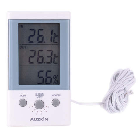AUZKIN Hygrometer Thermometer Digital Temperature Humidity Meter Indoor Thermometer Hygrometer with Digital LCD Display and Alarm Clock