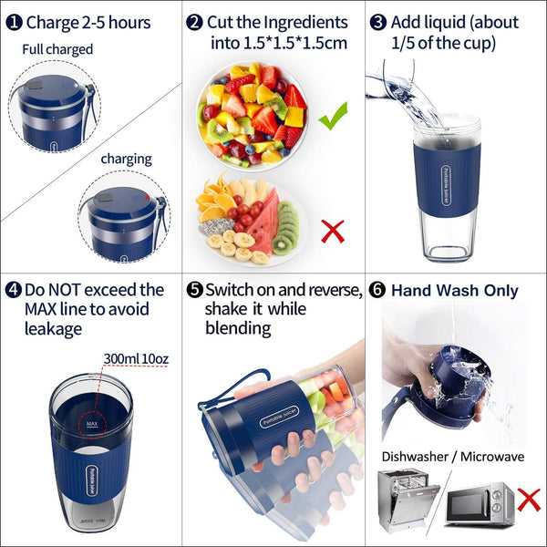 Portable Blender,AUZKING Cordless Mini Personal Blender Small Smoothie Blender USB Fruit Juicer Mixer - Home Outdoor Travel Office - USB Rechargeable,IP68 Waterproof, BPA Free