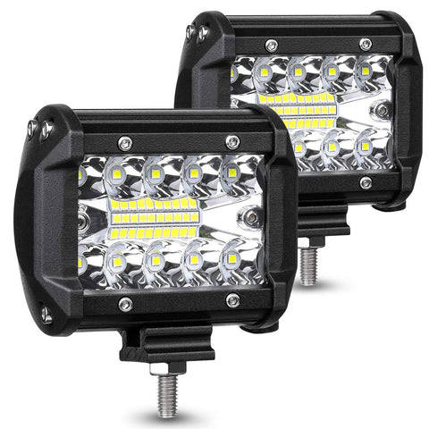 AUZKIN LED Pods Light Bar 4 Inch 120w 12800lm Driving Fog Off Road Lights Triple Row Waterproof Spot Flood Combo Beam LED Cubes Lights For Pickup Truck Jeep ATV UTV SUV Boat, 2 Year Warranty, 2 Pack