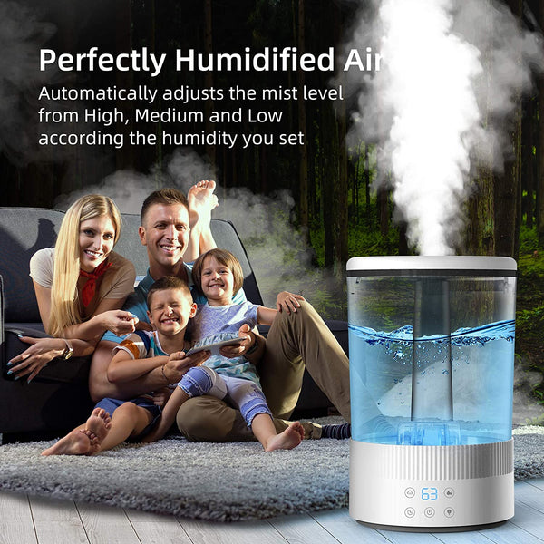 AUZKIN AUZKIN Cool Mist Humidifiers for Bedroom, with Humidity Control and Timer Setting for Baby, Quiet 4.5L Ultrasonic Humidifiers for Large Room