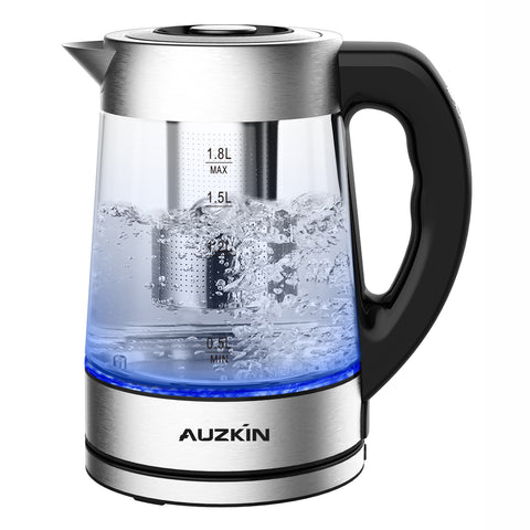 AUZKIN Electric kettle, Water Boiler 1500W Fast Heating Tea Pot, 1.8 Quart (1.7 L) Blue LED Lights Bright Glass Body, Auto Shut-Off Boil-Dry Protection Stainless Steel Inner Lip