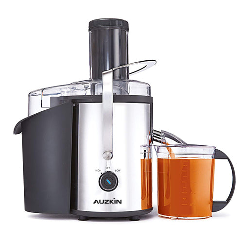 AUZKIN Electric Juicer Squeezer Stainless Steel 160 Watts of Power Soft Grip Handle and Cone Lid for Easy Use