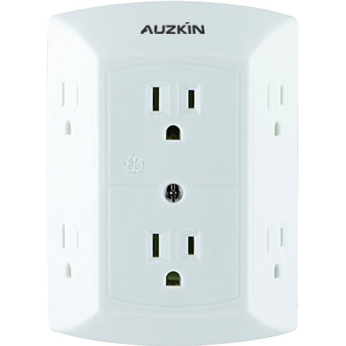 AUZKIN Electrical plugs , Extra Wide Spaced Outlets for Cell Phone Charger, Power Adapter, 3 Prong, Multi Outlet Wall Charger, Quick & Easy Install, For Home Office, Home Theater, Kitchen, or Bathroom, UL Listed, White, 50759