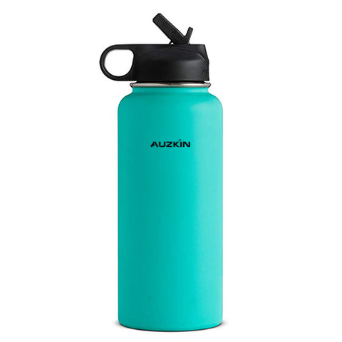 AUZKIN Insulating flasks Double Wall Vacuum Insulated Stainless Steel Sports Water Bottle, Wide Mouth with BPA Free Straw Lid