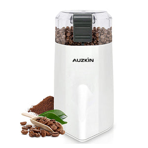 AUZKIN Power-operated coffee grinders with Large Grinding Capacity and HD Motor also for Spices, Herbs, Nuts, Grains and More White