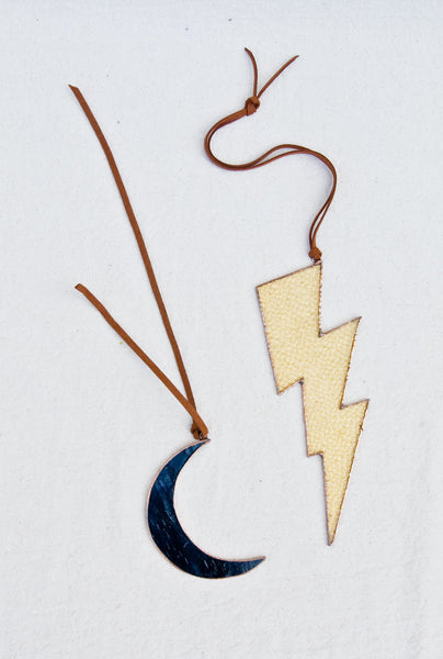 Moon and Lightning Bolt Stained Glass