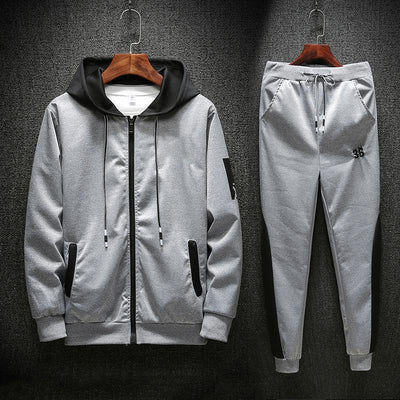 Plus Size Windproof Zippered Patchwork Men's Sports Suit