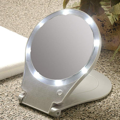 LED Lighted Travel and Home 10x nifying Mirror