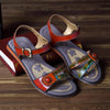 Genuine Leather Adjustable Hook Loop Printing Flower Flat Sandals