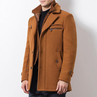 Thickened Warm Woolen Casual Trench Coat