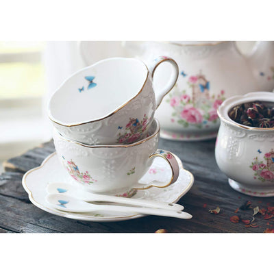 Porcelain Coffee Cups with Teapot Warmer & Filter