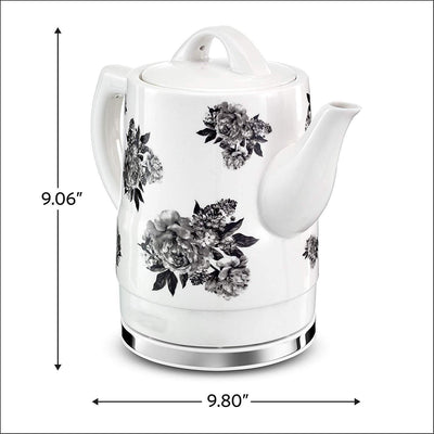 1.5 Liter Electric Ceramic Tea Kettle,Black Floral