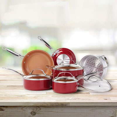 10 PC Copper-Infused Ceramic Non-Stick Cookware Set