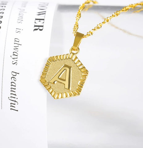 Initial Hexagon Charm Pendant Necklace