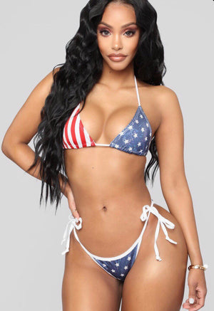 Two Piece String Bikini That Ties On Sides Scrunched Cheeky  (Fourth of July bikini)