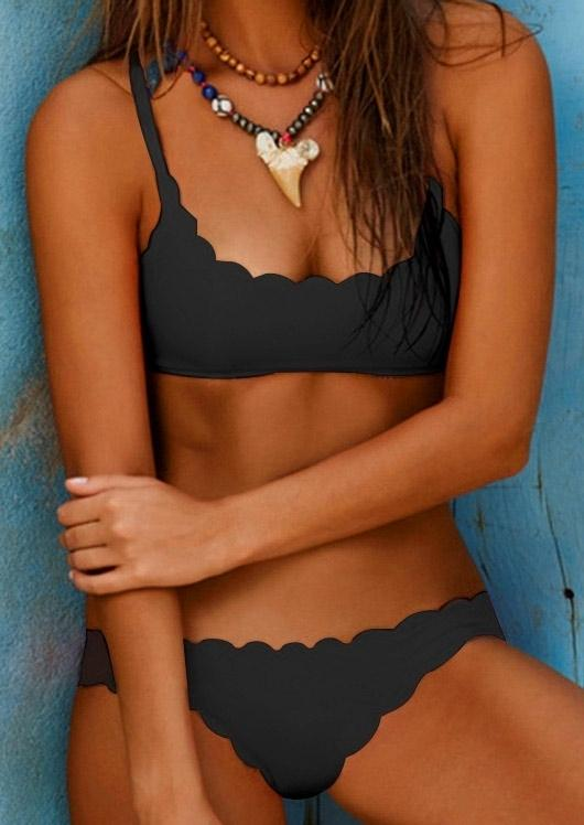 Solid Scallop Hem Bikini Set without Necklace