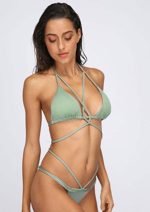 Solid Braid Sexy Bikini Set without Necklace
