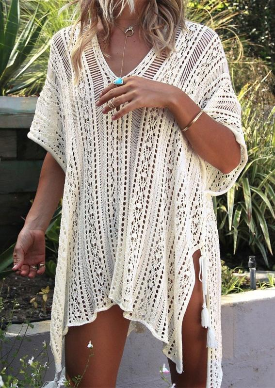 Solid Hollow Out Tassel Slit Cover Up