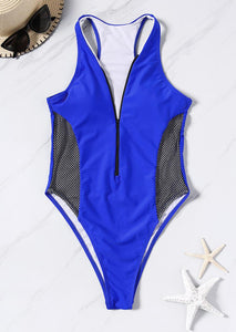 Mesh Splicing Zipper Sexy Swimsuit