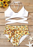Sunflower Cross Halter Bikini Set